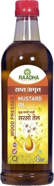 RAADHA ORGANICS Organic Woodpressed Mustard Oil |1 Ltr Mustard Oil Plastic Bottle