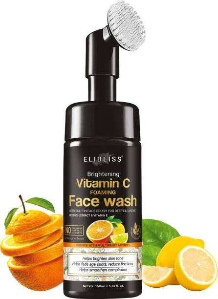 ELIBLISS Brightening Vitamin C Foaming with Built-In Face Brush for deep cleansing - No Parabens, Sulphate, Silicones - 150 ml  Face Wash