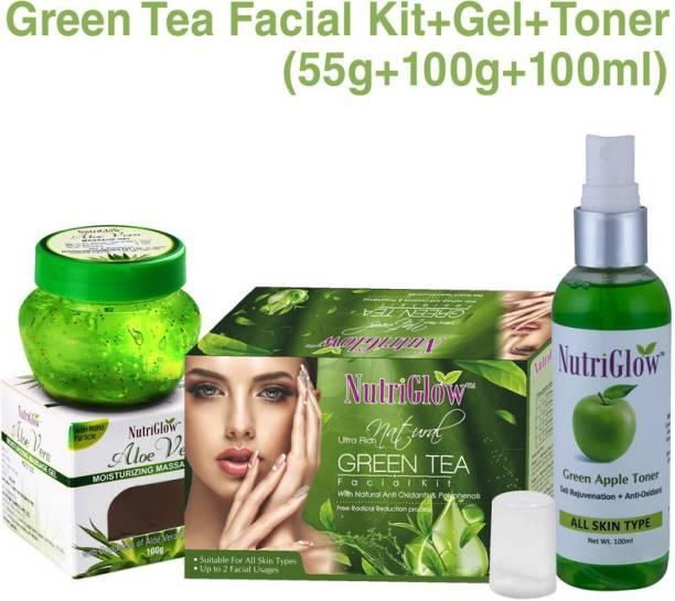 NutriGlow Natural Ultra Rich Green Tea Facial Kit , 1 Green Apple Toner , 1 Alovera Gel