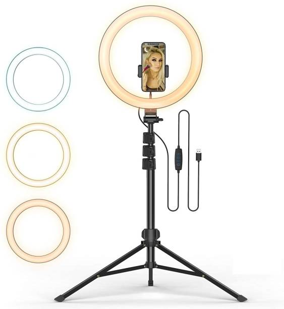 """Wrapo 12"""" inch LED Ring Light with 7 Ft Tripod Stand Combo and Phone Holder for Tiktok YouTube Reels Photo-shoot Video Live Stream Makeup Videos vlogging Vigo Video Shooting 