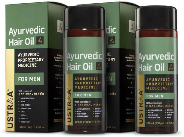USTRAA Ayurvedic Hair Oil 200ml (Set of 2) - with 8 Natural Herb extracts, Controls hair fall, Fights Dandruff, Ayurvedic Nourishment for Hair Hair Oil