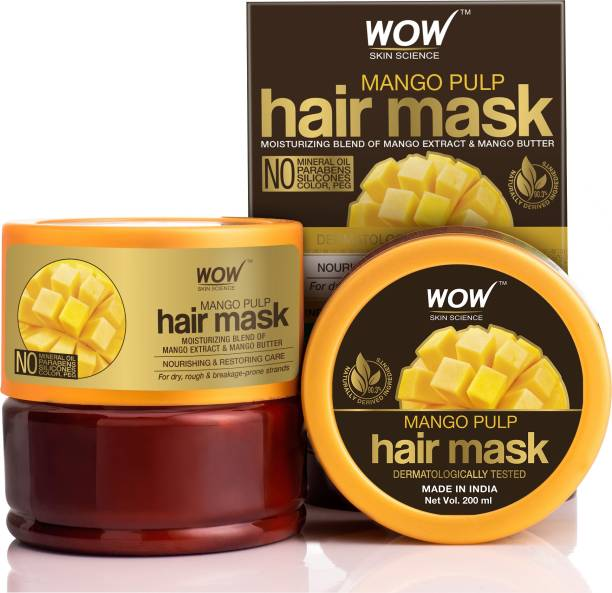 WOW SKIN SCIENCE Mango Hair Mask For Healthy Hair - No Mineral Oil, Parabens, Silicones, Synthetic Color, PEG - 200mL