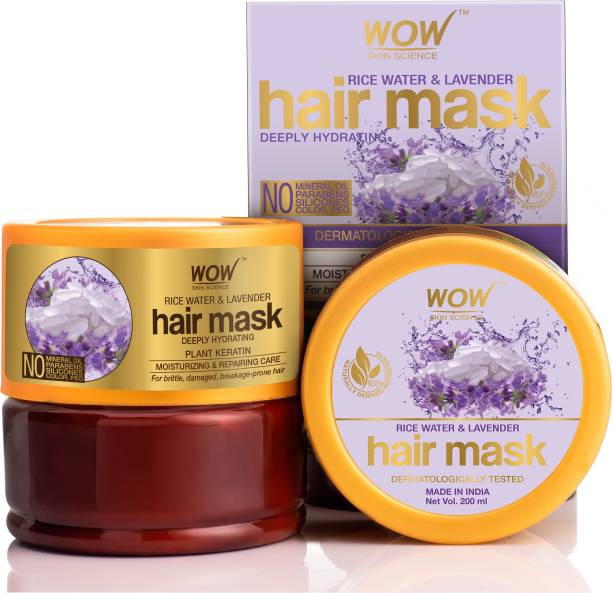 WOW SKIN SCIENCE Rice Hair Mask with Rice Water, Rice Keratin & Lavender Oil for Damaged, Dry and Frizzy Hair - No Mineral Oil, Parabens, Silicones, Synthetic Color, PEG - 200mL