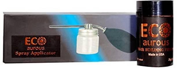 Eco Aurous Combo Pack Hair Building Fiber 25gm with Spray Applicator Medium Hair Volumizer Powder