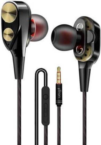 PTron Boom Duo Dual Driver Wired Headset (Gold, Black, In the Ear) Wired Headset