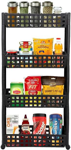 Cutting EDGE 4 Layer | Dark Brown | SLIM Classic - Smart Storage Organizer – Multipurpose & Easy-To-Move Slide Out Shelf Rack Trolley (Plastic) With Wheels for Kitchen | Bedroom | Bathroom | Home | Pantry | Washing & Utility Area Plastic Kitchen Trolley