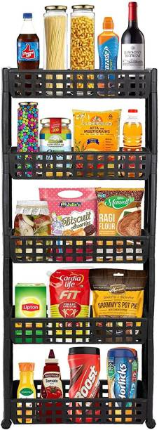 Cutting EDGE 5 Layer | Dark Brown | SLIM SIGNATURE Series- Smart Storage Organizer – Multipurpose & Easy-To-Move Slide Out Shelf Rack Trolley (Eco-Plastic) With Wheels for Kitchen | Bedroom | Bathroom | Home | Pantry | Washing & Utility Area Plastic Kitchen Trolley