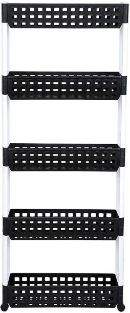 Flipkart SmartBuy 5 Layer | Black & White | SLIM Classic All-White - Smart Storage Organizer � Multipurpose & Easy-To-Move Slide Out Shelf Rack Trolley (Plastic) With Wheels for Kitchen | Bedroom | Bathroom | Home | Pantry | Washing & Utility Area Dish Drainer Kitchen Rack