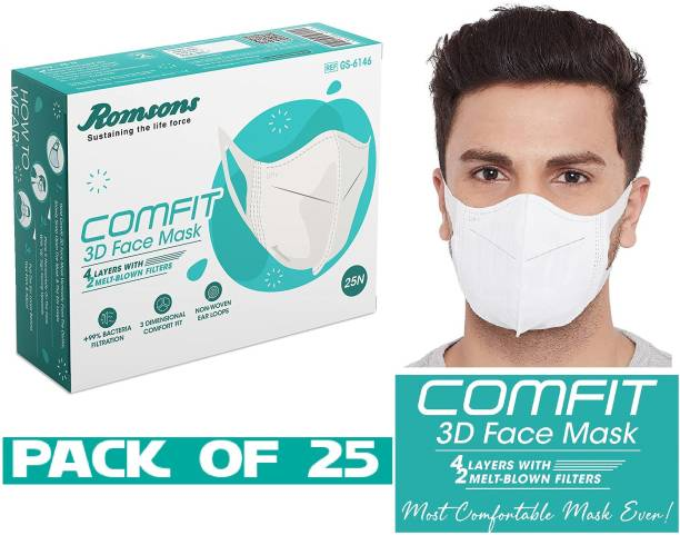 Ayezent Comfit 3D Face Mask Comfit 3D 4 Layers Face Mask with 2 Melt-Blown Filter & Softest Ear Loops, Most Comfotable Mask Ever,25 Pcs/Pack, (PACK OF 25 pcs) Reusable Surgical Mask With Melt Blown Fabric Layer