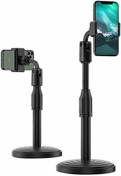 imad Online Classes and Meetings Special Table Mobile Holder and Stand| for All Smart Phones with Adjustable Height, 360 Degree Rotation for Table & Bed Compatible with All Smartphones.(Black) Mobile Holder