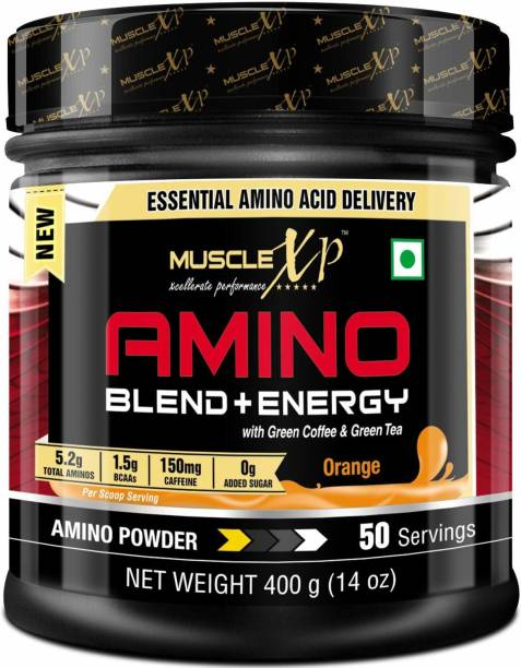 MUSCLEXp Amino Blend & Energy Powder, Orange, 50 Servings - Pre Workout, Intra Workout EAA (Essential Amino Acids)