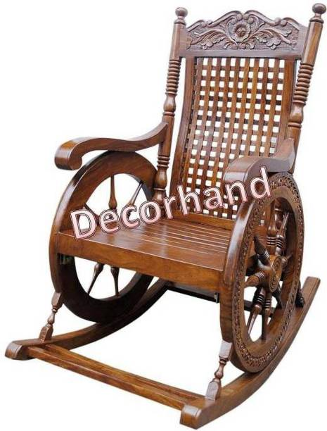 Decorhand Rosewood (Sheesham) Wood Rocking Chair For Living Room / Garden - Rosewood Finishing for adults/Grand parents Solid Wood 1 Seater Rocking Chairs