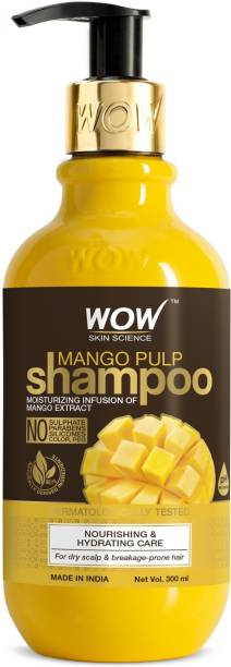 WOW SKIN SCIENCE Mango Shampoo For Healthy Hair - No Sulphate, Parabens, Silicones, Synthetic Color, PEG - 300mL