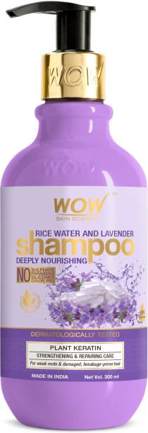 WOW SKIN SCIENCE Rice Water Shampoo with Rice Water, Rice Keratin & Lavender Oil for Damaged, Dry and Frizzy Hair- No Sulphate, Parabens, Silicones, Synthetic Color, PEG - 300mL