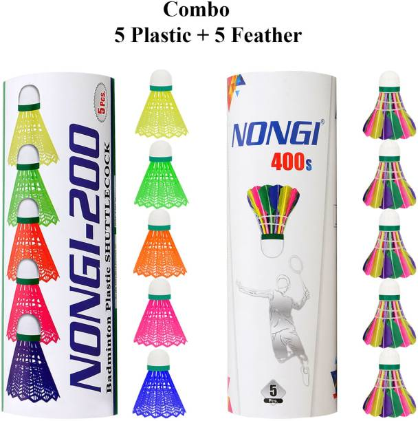 Nongi Badminton shuttle (400s & 200) combo pack of 10 for indoor outdoor sport Feather & Plastic Shuttle  - Multicolor