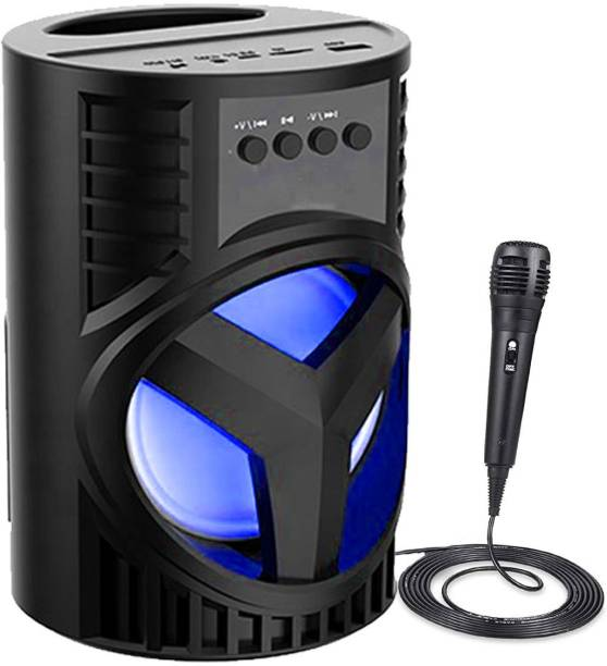F FERONS 2021 TOP SELLING LZ-4104 Wireless Led Disco Light subwoofer sound system with DJ light Carry Handle-Travel Speaker Support Bluetooth, FM Radio, USB, Micro SD Card Reader, AUX with [ Mic] 10 W Bluetooth Gaming Speaker