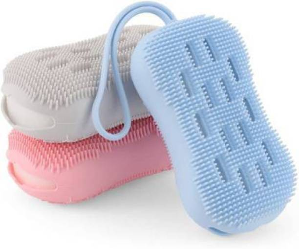 AD INTERNATIONAL 3 PCs Silicone Body Scrubber, Double-Sided Body Scrub Brush for Deep Cleasing Exfoliating, Super Soft Silicon Loofah with Rebound Sponge, Suitable for Women Men Kids Shower, Skin Body Massage
