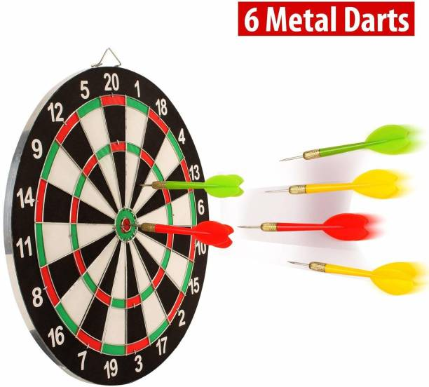 DreamPalace India 15 inch Wooden Double Faced Dartboard Game with Dart Board Dart Board Board Game Dart Board Dart Board Board Game