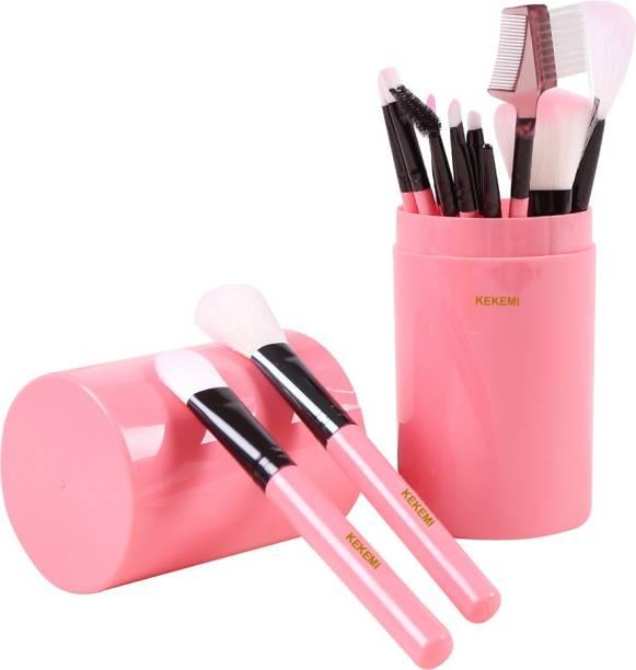KEKEMI MB012_01K Makeup Brush Set with Pink Storage Box