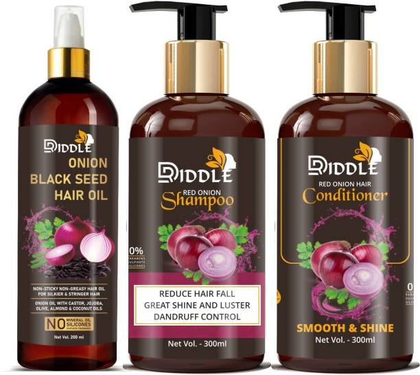 DRIDDLE Onion Black Seed Oil & Onion Shampoo With Onion Conditioner 3 Combo Kit