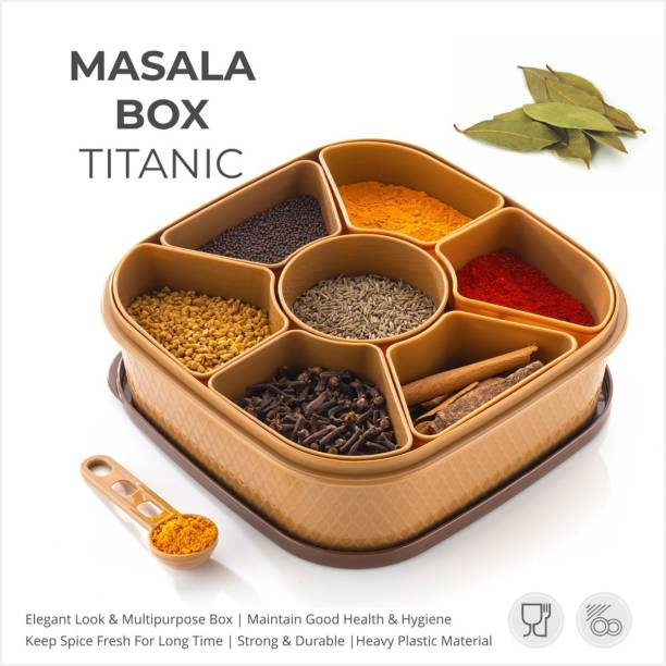 2Seven New Premium Quality Woman's 1st Choice 100% Unbreakable Air Tight Modular Kitchen Plastic Storage Containers Jars Canister Box Combo Set Canister Dibba Boxes Elegant Masala Box and Spice Containers Set 1 Piece Salt & Pepper Set