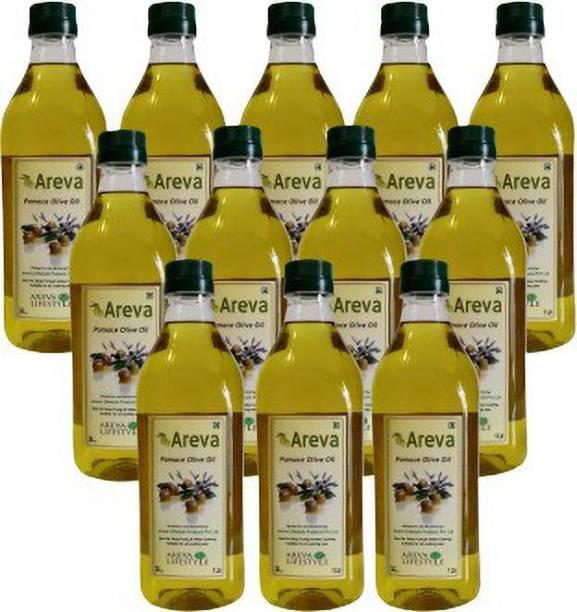 AREVA Olive Pomace Oil 1 Ltr Combo - Pack of 12 Olive Oil PET Bottle