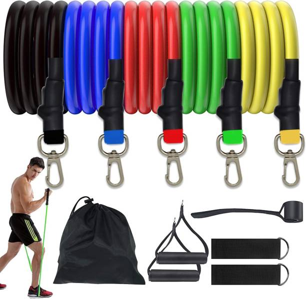 maayaa Resistance Exercise Bands with Handles/ 5 Fitness Workout Band,Physical Therapy Resistance Band