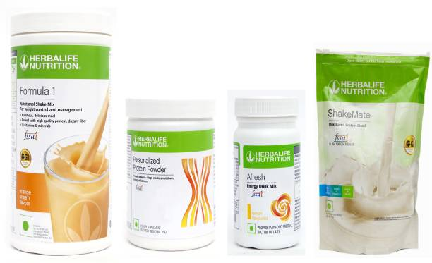 HERBALIFE Weight Loss Super Delicious Combo With Formula 1 Nutritional Shake Mix -Orange Flavor with Personalized Protein Powder 200 Gram & Afresh Energy Drink Mix - Lemon Flavor With Shake Mate Milk Powder - Vanilla Flavor Combo Pack Of 4 PCS Combo