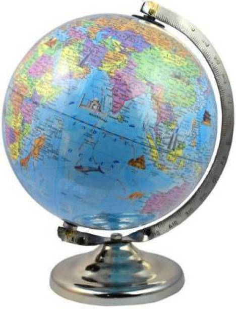 kunal enterprises Educational Globe with Famous Monuments 8 Inch Laminated Desk & Table Top Political World Globe (Medium Blue) DESK & TABLE TOP Political World Globe