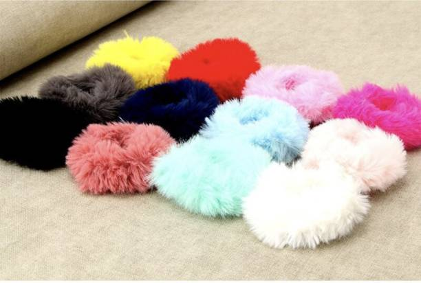 Myra Collection 12 Pieces Fur Hair Scrunchies Rabbit Furry Hair Ties Pom Elastic Hair Bobbles Fluffy Ponytail Holder Pompom Ball Scrunchie Hair Band for Women Girls Hair Accessories(Color Set 12) Rubber Band