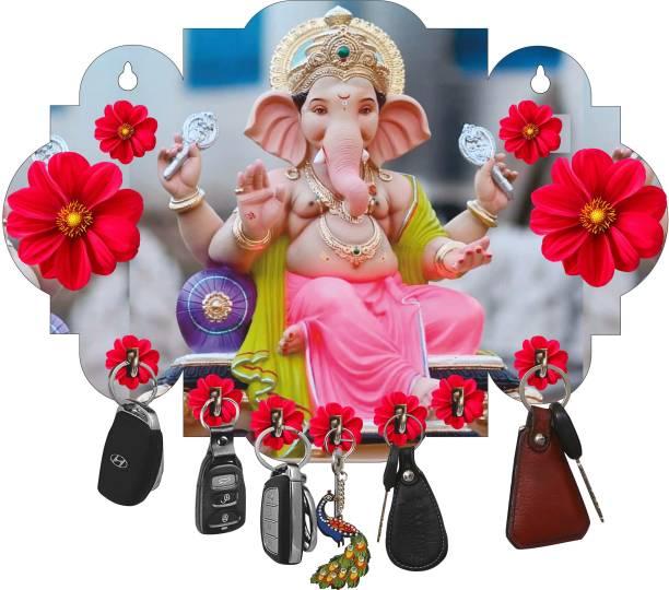 Crafts World New Wooden Ganesh Key Holder For Home Wood Key Holder Wood Key Holder