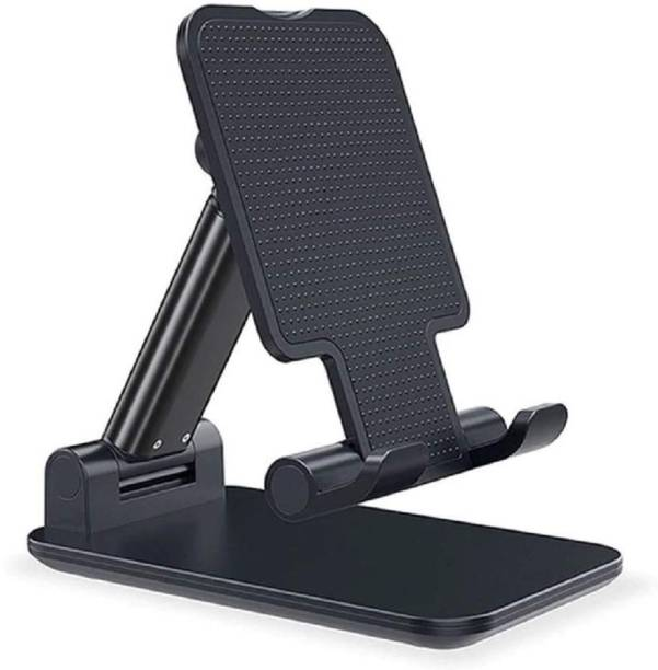 Dainty Folding Mobile Stand Holder (BLACK -2021] Angle & Height Adjustable (Pack Of 1) Mobile Holder