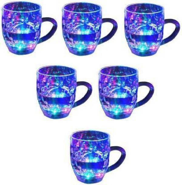 Thakran Magic Color Cup with LED Light Party (250 ml)pack of 6 Glass Mason Jar