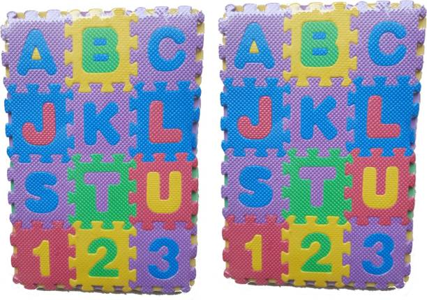 FOX fusion Mini Puzzle Foam Mat for Kids, Interlocking Learning Alphabet and Number Mat for Kids pack of two