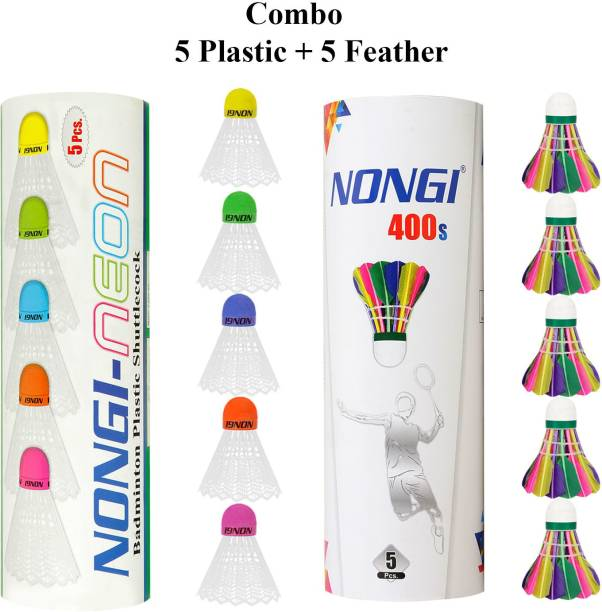 Nongi Badminton shuttle(400s & Neon) combo pack of 10 for indoor outdoor sport Plastic & Feather Shuttle  - Multicolor