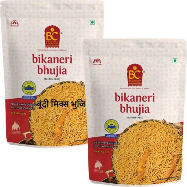 BHIKHARAM CHANDMAL Boondi Mix Bhujia Namkeen (400gm) - Bikaneri Bhujia Barik Sev Snacks (400gm)