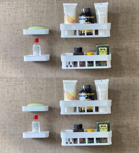 VRAVMO Multipurpose Kitchen Bathroom Rack Storage Shelves Bathroom Storage Rack Soap Box Stand Shower Rack ABS Plastic Storage Holder Combo with Magic Sticker Shelf ( 4 Bathroom Shelves + 4 soap Box) (White)