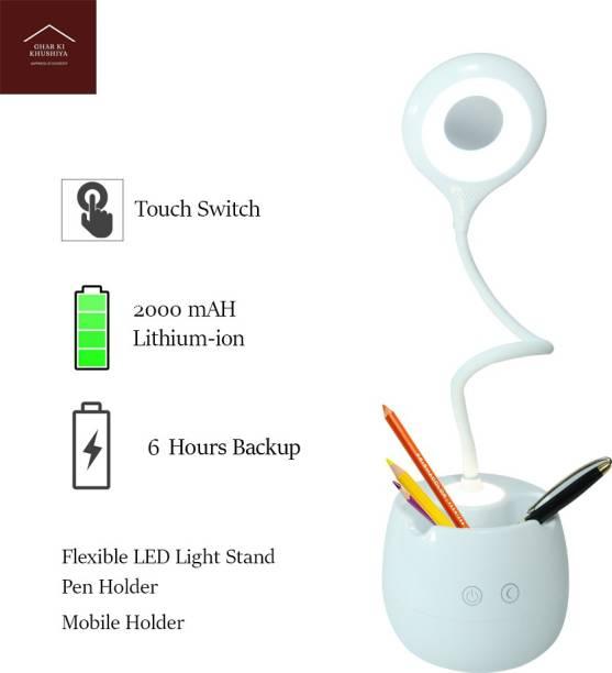 ghar ki khushiya GHARKIKHUSHIYA STUDY AND TABLE DESK LAMP WITH TOUCH SWITCH (FLEXIBLE ,45 CM) (NIGHT LAMP+PEN HOLDER+MOBILE HOLDER) Study Lamp