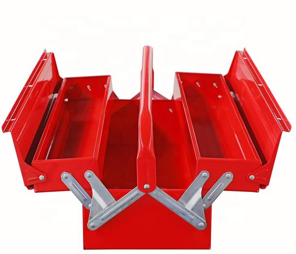 Toolero TPTB-003 Profitech Metal Tool Box with 3 Compartment Box (Red) Tool Box with Tray