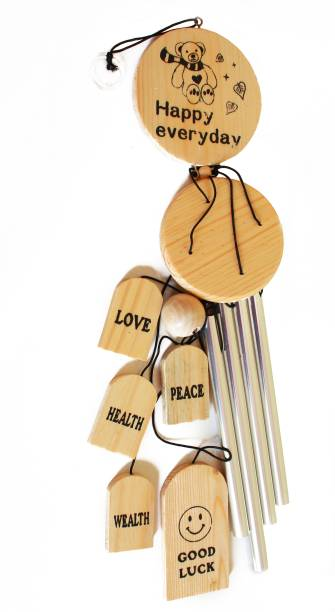 shanol :) Shanol :)...Wooden love good luck Wind Chime for home decoration Aluminium pipes Windchime (28 inch, brown and silver ) Windchime For Home, Balcony, garden With good Sound Quality bamboo, hanging bells positive energy vastu wind chime Wood, Aluminium Windchime