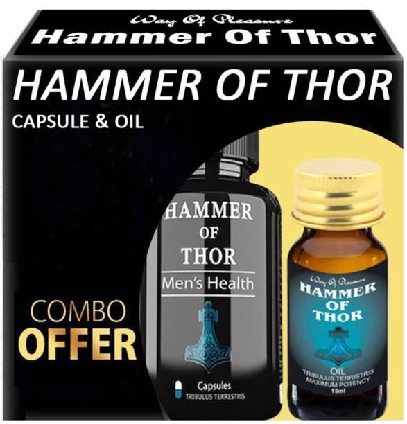 Way Of Pleasure 60 Ayurvedic Capsule With Hammer Of Thor Ayurvedic Oil 15ml Combo Kit For Men
