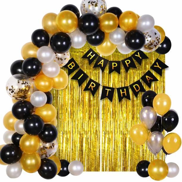 Miss & Chief Solid Happy Birthday Decoration Kit Combo - 42pcs Metallic Confetti with Birthday Bunting Golden Foil Curtain /Happy Birthday Decorations Items Set Balloon Bouquet