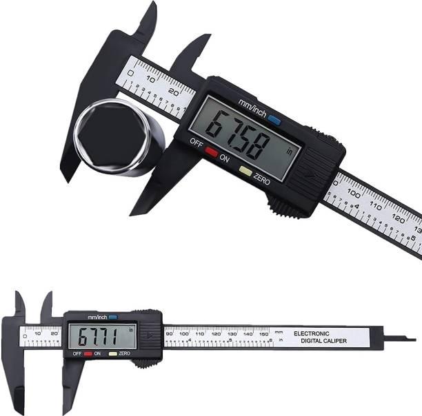 SAFESEED Vernier Caliper Electronic Digital Ruler Measuring tool Gauge Depth Meter Carbon Fiber Composite 6inch 150mm LED Screen with storage box - Black Vernier Caliper