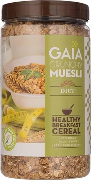 GAIA Crunchy Diet Muesli multi-grain, for a healthy, low-calorie breakfast.