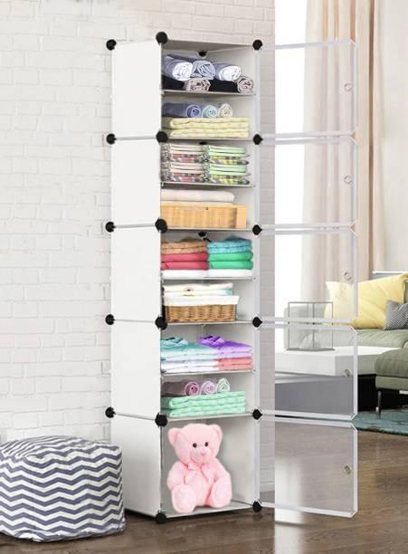 Sasimo 5-Door 10-Shelf Plastic Collapsible PC Collapsible Wardrobe