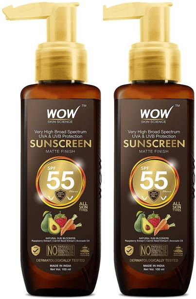WOW SKIN SCIENCE Sunscreen Matte Finish - Spf 55 Pa+++ - Very High Broad Spectrum - Uva &Uvb Protection - Quick Absorb - No Parabens, Silicones, Mineral Oil, Oxide, Color & Benzophenone, 100mL (Pack of 2) - SPF Spf 55 Pa+++ PA+++
