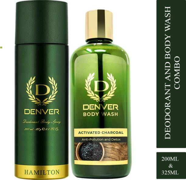 DENVER Hamilton 200 ml & Bodywash With Activated Charcoal 325 ml Combo Deodorant Spray  -  For Men