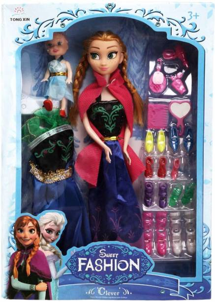 BKDT Marketing Fashion Doll Play Set with one Big Doll, One Small Doll, Dresses, 8 pair of shes and Fashion Accessories