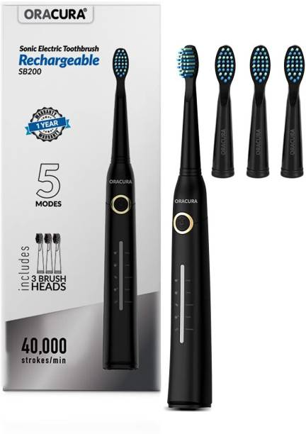 ORACURA Sonic Electric Rechargeable Toothbrush SB200 With 40,000 Strokes/minute | 5 Modes, 3 Brush Heads & Rechargeable with 4 Hours Charge lasts Upto 30 Days | Including USB Cable for Charging Electric Toothbrush