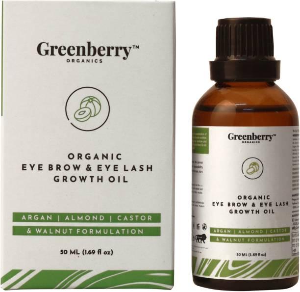Greenberry Organics Organic Eyebrow & Eye Lash Growth Oil, Aragan, Almond, Castor & Walnut Super Formula, Soothing & Growth, All Skin Types 50 ml